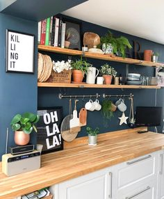 I love the wall color, counter tops and cabinets. Only thing I don't like is. - - I love the wall color, counter tops and cabinets. Only thing I don't like is… I love the wall color, counter tops and cabinets. Only thing I don't like is the wall sign Decor, Interior, Kitchen Colors, Blue Kitchen Walls, Kitchen Decor, Home Decor, Kitchen Wall, House Interior, Home Kitchens