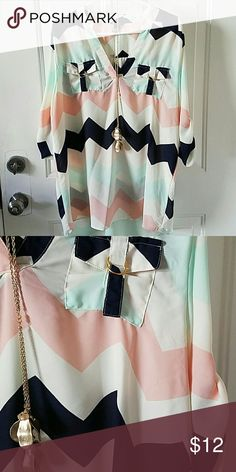 Rue 21 Chevron Blouse Navy, mint, white, and peach with gold accents on sleeves. Rue 21 Tops Blouses
