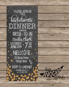 Fajitas And Margaritas Chalkboard Invitation  Any Event  Diy