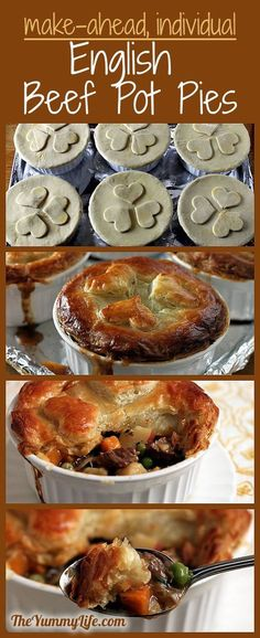 Individual English Beef Pot Pies with Puff Pastry with easy shortcuts and make-ahead convenience. www.theyummylife.com/individual_english_pot_pie