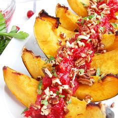 Roasted Acorn Squash with Cranberry Sauce- one of my favorite Paleo side dishes of all-time!