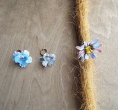Shades of Blue Flower Dangle Charm Bead Antiques Brass Dreadlock Accessory Extension Accessories Dread Boho Bohemian Hippie