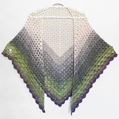 The Whisper Wrap is a pretty, lacy free crochet shawl pattern that uses just one ball of Red Heart Its A Wrap Rainbow Yarn. Crochet Shawls And Wraps, Crochet Scarves, Crochet Yarn, Crochet Clothes, Crochet Stitches, Crochet Style, Knit Shawls, Crocheted Lace, Crochet Sweaters