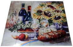 Sunflowers - Tile Mural. Digitally reproduced for tiles and depicts a wine scene with cheese, bread and some sunflowers. Our decorative tiles with wine are perfect to use for your kitchen splash-back tile project. A wine tile mural adds elegance and interest to your kitchen wall tile area and makes a wonderful kitchen backsplash idea. Pictures of wine on tiles and images of wines bottles on tiles and wine glasses on tiles is timeless and these decorative tiles of wine blend with any decor.