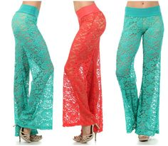Aquarius or Virgo Lace Palazzo Pants Sexy Wide Flare Leg Coral or Turquoise | eBay