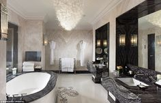 Soak it up: The bathroom at the Mandarin Oriental's Royal Suite has a chandelier and is made entirely of marble