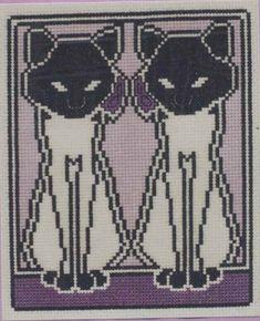 Black cat art nouveau cross stitch