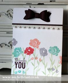 Thank you card made using the Painted Petals stamp set - Stampin' Up! Demonstrator Michelle Last