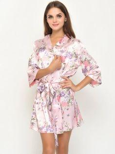 Satin floral robes kimono robes bridesmaid robes-023