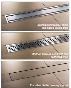 Kerdi Line from Schluter Systems - linear shower channel made of stainless steel or . Kerdi Line from Schluter Systems - linear shower channel made of stainless steel or . # shower channel # stainless steel I. Bathroom Renos, Bathroom Interior, Modern Bathroom, Small Bathroom, Master Bathroom, Downstairs Bathroom, Bathroom Drain, Bathtub Tile, Bathroom Remodeling