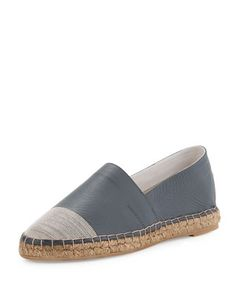 Monili+Cap-Toe+Espadrille+Flat,+Graphite+by+Brunello+Cucinelli+at+Bergdorf+Goodman.