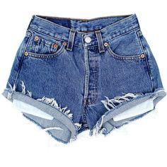 Original 501s [W22] ($81) ❤ liked on Polyvore featuring shorts, bottoms, pants, denim shorts, light blue shorts, torn shorts, denim cut-off shorts and vintage denim shorts