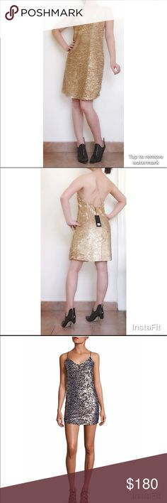 Flag sales! Kendall & Kylie gold sequin Dress Super sexy gold sequin dress with adjustable strap and invisible back zip. It is a size S and new with tag a gift from mom but not my style. Gold Sequin is absolutely beautiful and it is sold out in Newman Marcus store plus website. It is the same style slip dress as above photo in silver. Perfect for night out, prom, or other special occasions! This is definitely a stunner worth investing and keep in your closet! Kendall & Kylie Dresses Mini