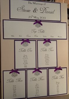 A3 Handmade Personalised Wedding Table Seating Plan - Vintage Style