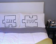couples pillow  cases Puzzle Piece Pillow Case For by OSusannahs, $38.99