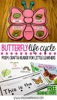 Teach your Kindergarten and primary students all about the life cycle of a butterfly with this butterfly life cycle poem, butterfly craft and FREE butterfly life cycle sequence strips!  They are the perfect way to bring a little science into your spring activities! via @onesharpbunch #freebies #scienceintheclassroom #springscienceideas