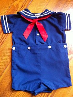 Vintage boutique boys navy nautical sailor suit by NapTimeMakings, $15.00