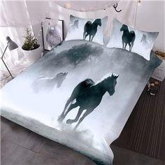 Cotton Bedding Sets, Comforter Sets, 3d Bedding, Engraving Printing, Horse Print, Black And White Colour, Duvet Cover Sets, 3 Piece, 3 D