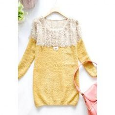 $9.01 Sweet Scoop Neck Color Matching Long Sleeve Sweater For Women