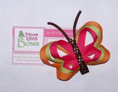 Pumpkin Spice BUTTERFLY Hair Clip Ribbon by PrincessRibbitBows, $3.50