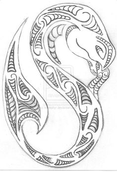 Taniwha; Maori Mythological Water dwelling Creature; Tuatara head; Fish Tail; Koru designs