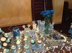 """Frozen candy buffet! I the candy grouped together as a package deal on Amazon.. It was meant for a """"having a baby boy"""" but it worked! I threw in a few shimmery white gum balls I found at Target.."""
