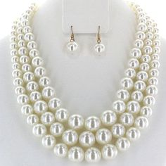 Multi Layer Pearl like necklace and earrings