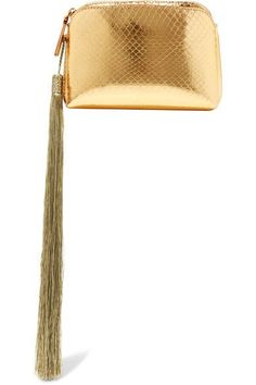 The Row is renowned for its considered approach to design and meticulous craftsmanship. Part of the Resort '17 lineup, this tasseled clutch has been made in Italy from gleaming gold ayers and lined in suede. It's fitted with two slit pockets and a central section to secure your cards, keys and compact. The petite proportions make it perfect for evening.