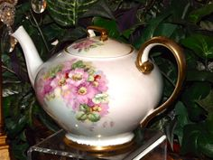 Limoges Adorably Tea Pot with Pink Wild Roses and Gold from allthingslovelee on Ruby Lane