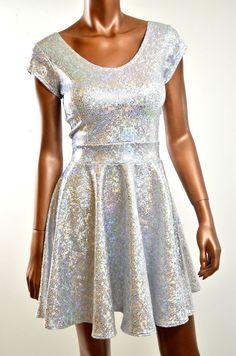 Silver Holographic Cap Sleeve UV Glow Skater Dress SEXY Clubwear NWT UNIQUE #CoquetryClothing #StretchBodycon #Clubwear