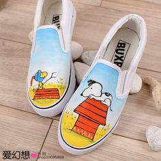 I would never buy these or own them, but I think they are kinda cool. Painted Canvas Shoes, Custom Painted Shoes, Painted Sneakers, Hand Painted Shoes, Custom Shoes, Snoopy Shoes, Shoe Boots, Shoes Sandals, Painting Shoes