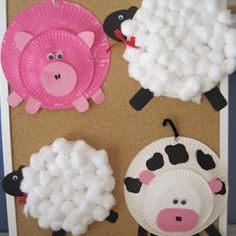 Paper Plate Farm Animals {Animals} get bigger plates to go along the small ones you have...cute to put around room @Victoria Brown Brown Pittman