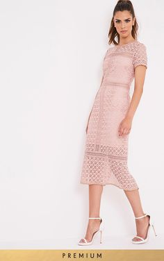 Midira Premium Dusty Pink Crochet Lace Midi Dress