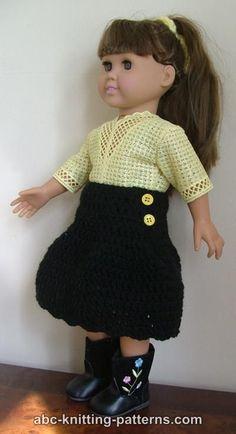 ABC Knitting Patterns - American Girl Doll Yoke Skirt
