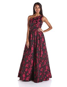Carmen Marc Valvo Infusion Womens One Shoulder Printed Taffeta Jacquard Gown Cinnamon 14 ** Read more reviews of the product by visiting the link on the image.(This is an Amazon affiliate link and I receive a commission for the sales)