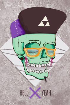 Hell Yeah Skull_Illustration by Hungry_Vzla , via Behance