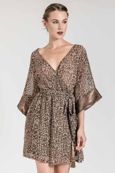 This mini leopard wrap dress is perfect for a winter night out! Dress To Impress, Night Out, Wrap Dress, Cover Up, Sequins, Winter Night, Mini, Dresses, Women
