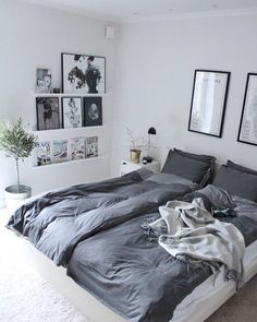 In love with this bedroom and the picture ledges to display art and magazines…