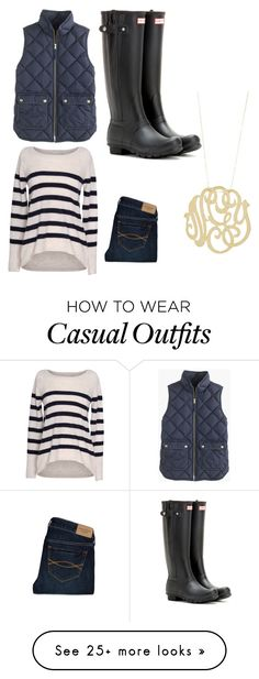 """Casual preppy"" by cgdooley on Polyvore featuring J.Crew, Velvet by Graham & Spencer, Hunter, Abercrombie & Fitch, women's clothing, women's fashion, women, female, woman and misses"