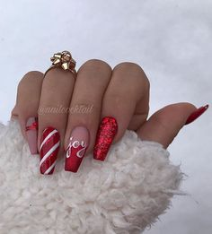 Cute Christmas Nails, Christmas Nail Art Designs, Xmas Nails, Holiday Nails, Christmas Nails 2019, Christmas Christmas, Long Nail Designs, Colorful Nail Designs, Acrylic Nail Designs