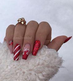Cute Christmas Nails, Xmas Nails, Christmas Nail Art Designs, Holiday Nails, Christmas 2019, Winter Christmas, Christmas Tattoo, Christmas Lights, Long Nail Designs