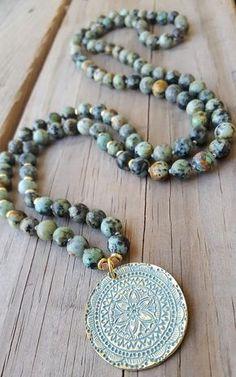 97d72fcb7bd EMBRACE THE JOURNEY Mandala Mala Necklace African Turquoise Mala Beads 108  Handmade Knotted Mala Beads Mandala Necklace Meditation Self-Care