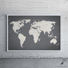 Affiche carte monde gris, vaste monde carte impression, Modern Home Decor, Decor de voyage, carte d