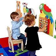 Parrot Wall Panel $79.99    The Parrot Wall Panel is a wonderful addition to liven up the walls of any play area, classroom, waiting room, or home and provide hours of educational fun! It boasts adorable artwork of squawking parrot perched on top of our highly educational Learn the Alphabet. Kids will learn their ABC's corresponding words that match the letters (ex: A=apple) as they play with the individually embossed wooden blocks! This panel is part of a series of smaller wall panels…