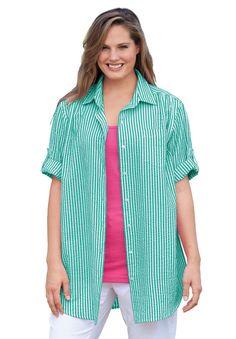 Plus Size Seersucker bigshirt | Plus Size short sleeve | Woman Within