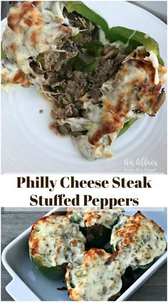 Philly Cheese Steak Stuffed Peppers - - A fun and delicious twist on traditional stuffed peppers, using sliced roast beef, onions, peppers, mushrooms and cheese. Your favorite sandwich turned stuffed pepper. A scrumptious low carb meal! Cheesesteak Stuffed Peppers, Stuffed Peppers Healthy, Cheese Stuffed Peppers, Stuffed Green Peppers, Stuffed Pepper Recipes, Philly Stuffed Peppers, Grilled Stuffed Peppers, Green Pepper Recipes, Steak Recipes