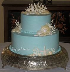 Sea Shell Wedding Cake   YES!!!  LOVE IT!!!  DO THIS BIGGER!!! LOL WITH WHITE PEARL TRIM....
