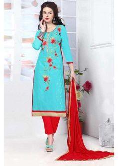 ciel bleu couleur glace coton salwar kameez, - 81,00 €, #Robeindienne #Tenueindienne #Salwarkameezfemme #Shopkund