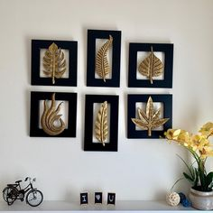 Brass Leaf Wall Hanging (Set of Antique Wall Decor, Gold Wall Decor, Wooden Wall Decor, Wall Art Decor, Wall Decor Crafts, Diy Crafts For Home Decor, Wall Hanging Crafts, Leaf Wall Art, Traditional Decor