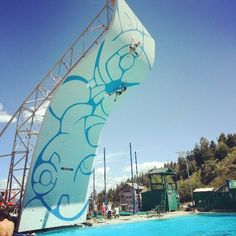 First ever deep water solo climbing competition. Held at the Olympic ski jump training facility in Park City, UT.  Got to watch the preliminaries while ski jumping for the first and last time!
